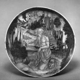 Figure 1. Dish on low foot, St Jerome and his lion in the wilderness