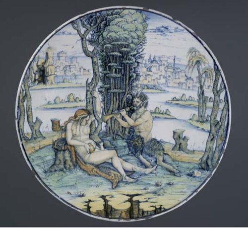 Figure 3. Dish, A satyr piping to a woman and child in a landscape