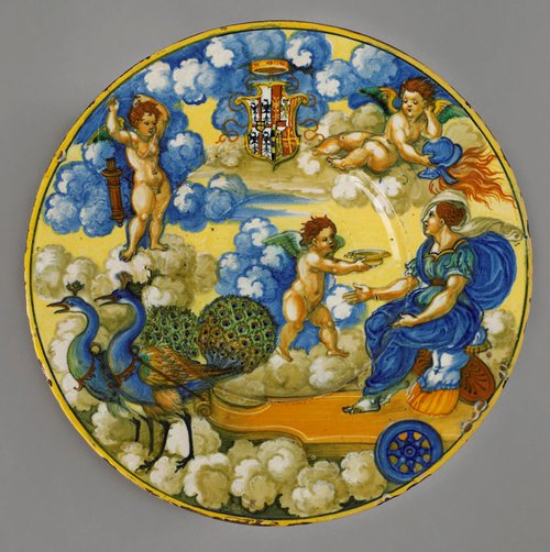Figure 7. Plate, The Chariot of Juno, the arms of Federico Gonzaga, Marquess of Mantua and his wife, Margherita Paleologo of Montferrat. Diam. 10 3/4in., (27.4cm). Urbino, Nicola da Urbino, ca. 1533 (c) Copyright The Trustees of the Wallace Collection